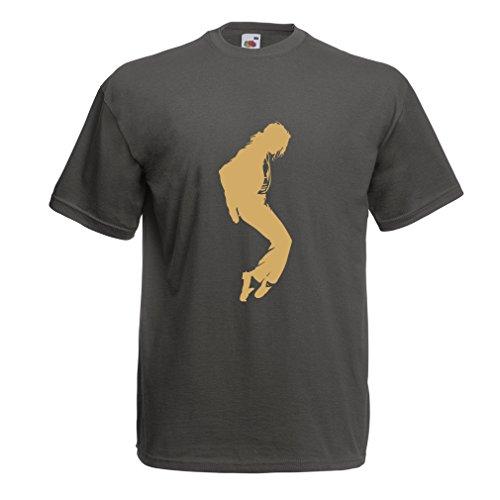 lepni.me Camisetas Hombre Me Encanta MJ El Rey del Pop Fanático De La Música y De Baile Art de Los Años 80 y 90 (XXL Grafito Oro)