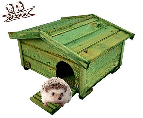 BLIŹNIAKI Hölzernes Igelhaus- 37x47x25cm Abnehmbares Dach Holzboden Sicher für Igel Igelhütte Igelhotel ECO Igelhaus aus Holz Igelhotel für den Garten HDJ3 K