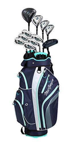 MacGregor Golf Damen DCT2000 Premium Graphit Eisen Graphit Holz Golf Club & Cartbag Paket Set Herren Rechtshänder, Marineblau/Weiß