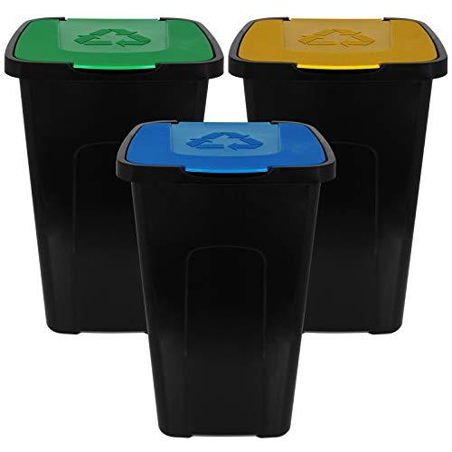 TW24 Mülleimer 50L mit Klappdeckel 3er Set Recycling Abfalltonne Mülleimer Abfalleimer