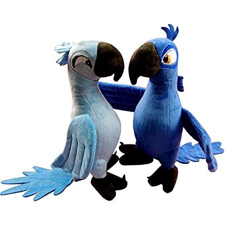GCCG Blue Parrot Bird Peluche Bambola Giocattolo Rio Film Cartone Animato Peluche Blue Parrot Blu & Jewel Uccello Bambola Regalo di Compleanno Bambola Peluche 30Cm 2pz*A+B