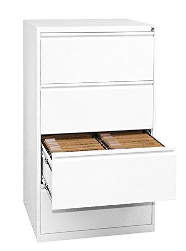 Profi Stahl Büro Hängeregistratur weiß Schrank Bürocontainer 1320 x 760 x 620mm (HxBxT) mit 4 Schüben, doppelbahnig 561427 weiss kompl. montiert und verschweißt