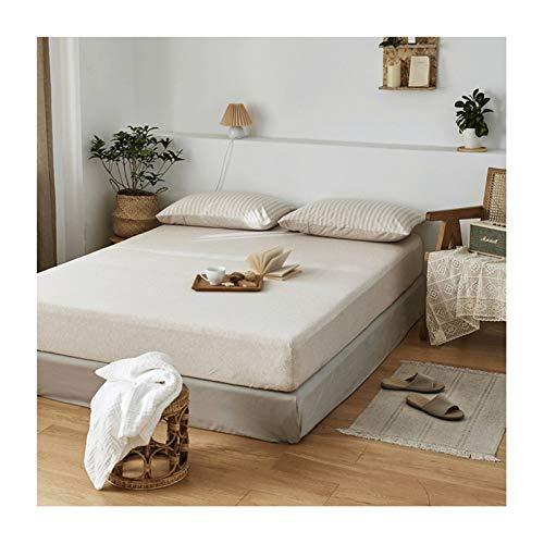 MZP Sábanas bajeras Ajustables de Punto de Jersey Easy Care Cama 90/100/120/135/150/180cm algodón Double Bed Fitted Sheets Sábanas Matrimonio Profundo 25cm (Color : Beige, Size : 150cmx200cm)