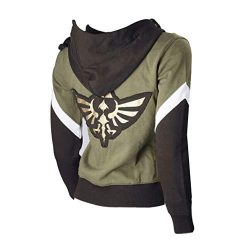 Unisex Link Hoodie Jacket Zip up Hyrule Warriors Sweatshirt Video Game Cosplay Costume Green