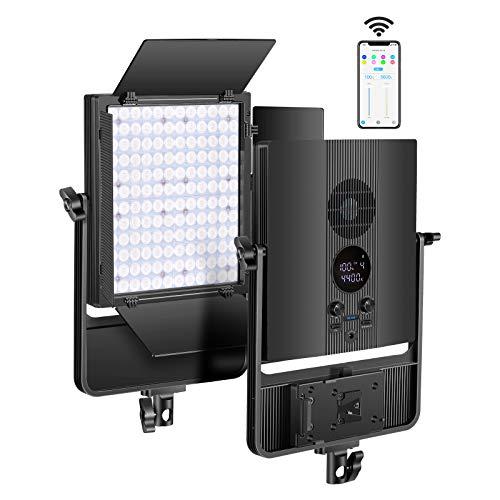 Neewer Bi-Color 50W Luz Video LED NL140 Regulable con Rendimiento Óptico Mejorado CRI96 3200-5600K Control Remoto de App Inteligente para Fotografía de Estudio Video de Youtube (Batería NO Incluida)