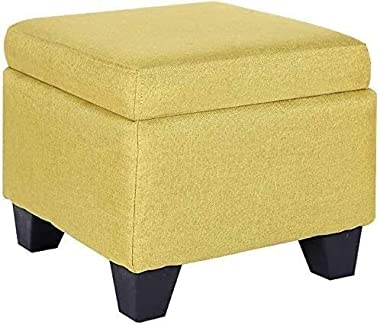 Footstool Shoe Changing Stool Foot Stool Linen Fabric Storage,upholstered Ottomans Stool Change Shoe Footrest with Wooden Leg