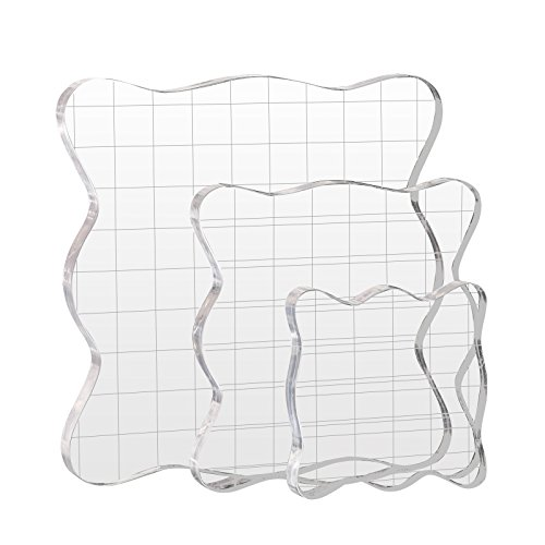 Kesote 3 Stück Stempelblock Set Acrylblock mit Gitter für Scrapbook Fotoalbum, Transparent