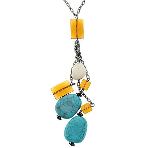 Collar largo de piedra turquesa para mujer con borla - Collar borla de cuentas azul - Bonitos collares
