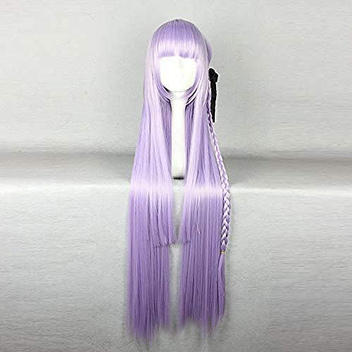 Perruque de cheveux synthétiques de charme longue ligne droite Violet Anime Dangan Ronpa Kyouko Kirigiri perruque Cosplay lumière Violet Braid Halloween