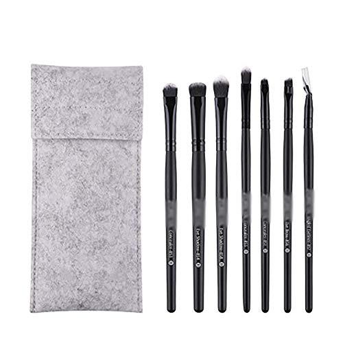 Pinceaux 7 Pcs Pinceau De Maquillage Set, Maquillage Noir Classique Yeux Brosses Fibres Artificielles Maquillage Brosses Beauté,Noir