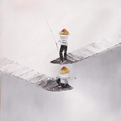 SnneiHome Leinwanddruck Abstrakte Chinesischen Stil Mit Zwei Angler Angeln Leinwand Gemälde Probe Minimalistischen Posterdruck Nordic Wall Bilder Für Wohnzimmer Home Decor, 30 X 30 cm Ohne Rahmen