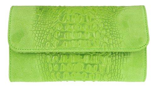 Girly Handbags Cocodrilo del ante del bolso de embrague (Verde Claro)