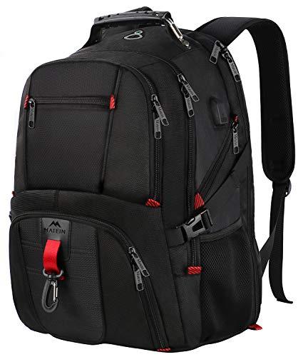 Laptop Rucksack Herren,17 Zoll Backpack Schulrucksack Daypack Multifunktion Business Notebook Taschen Wasserdicht Großer mit USB Ladeanschluss Geschenk für Männer Damen Schüler Teenager - Schwarz