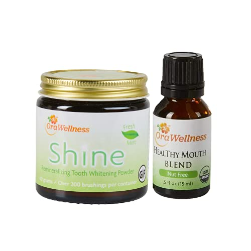 OraWellness Shine Remineralizing Natural Teeth Whitening Powder in Mint + Nut Free Healthy Mouth Blend Organic Toothpaste & Mouthwash Alternative Tooth Oil, Pack of 2