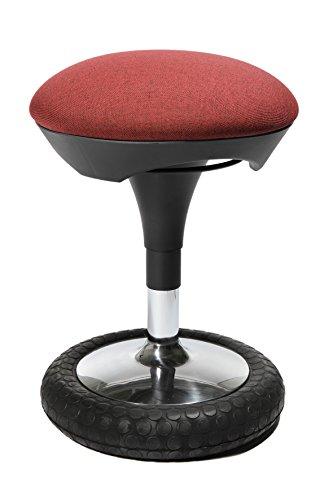 Topstar Sitness 20, ergonomischer Sitzhocker, Arbeitshocker, Bürohocker mit Schwingeffekt, Sitzhöhenverstellung, Bezug bordeaux rot