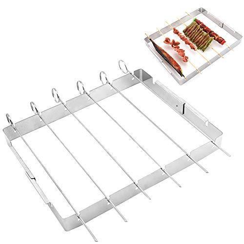 Cicony Grillspieße/Schaschlikspieße/Grillgabeln aus Edelstahl, 6er-Pack, flach, überlegene Grillspieße langlebig und wiederverwendbares Grill-Werkzeug (Rack inklusive)