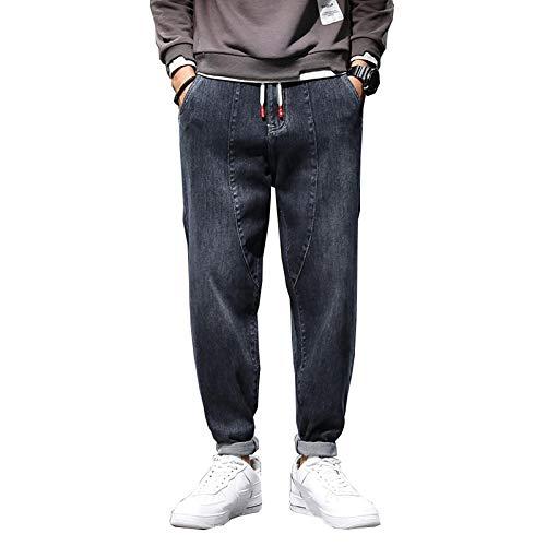 Vaqueros para Jeans Pantalones Pantalones Vaqueros para Hombre Pantalones Harem Cintura Elástica Holgada Azul Oscuro Pierna Ancha Loose-Fit Hip Hop Streetwear Young Boys Moda Panta