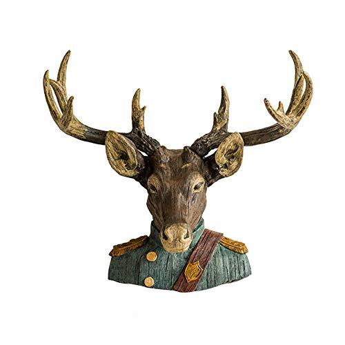 DKEE decoración País Deer Head General Colgante De Pared Pared Salón Decoración De Pared Resina Artesanía Animal Accesorios For El Hogar