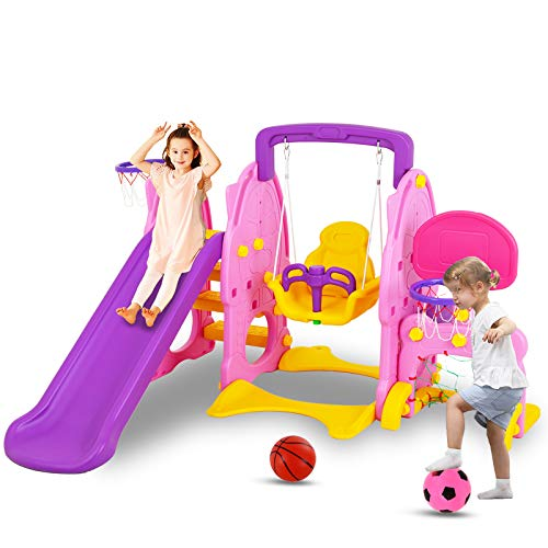 Uenjoy 4-in-1 Slide and Swing Set for Toddlers, Play Climber Freestanding Slides Playset for Kids , Indoor Outdoor Playground Toy with Basketball Hoop & Football Gate, Pink