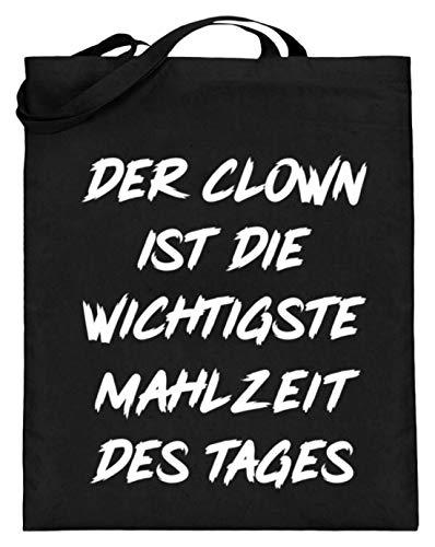 De clown is de belangrijkste maaltijd van de dag - eenvoudig en grappig design - jute zak (met lange handvatten)