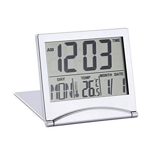 Mengonee Pantalla LCD Reloj Despertador Escritorio Termómetro Digital Cubierta Reloj de Mesa de Escritorio Flexible