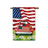 BAGEYOU Retro Red Patriotic Dog Truck House Flag Lovely French Bulldog Puppy 4th of July Rustic Daisy Decor Banner for Outside 28x40 Inch Print Double Sided