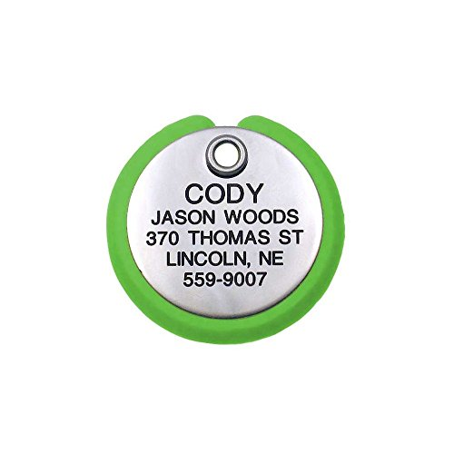 LuckyPet Pet ID Tag - Round Plastic Frame Tag - Dog Tags & Cat Tags - Deeply Custom Engraved - Size: Medium, Color: Stainless Steel & Neon Green