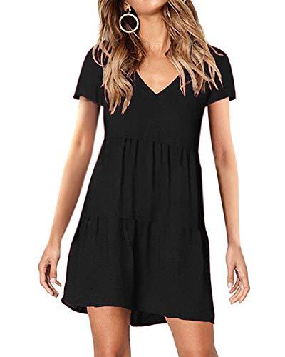 kenoce Kleider Damen Sommer Sommerkleid Damen Knielang Kurzarmkleider Tunika Kleid Swing Einfarbig Minikleid B-Schwarz L