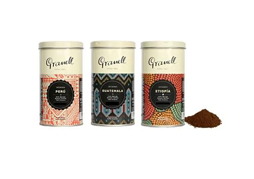 Granell Cafes-1940 - Origins Pack Gemahlener Kaffee Geschenkset | 100 % Arabica Kaffee Gemahlen Guatemala, Äthiopien und Peru - Probierset für Kaffeeliebhaber - 3 x 200 g
