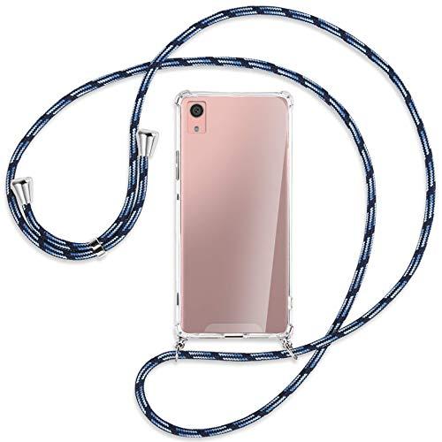mtb more energy Collar Smartphone para Sony Xperia XA1 (G3121, G3123 / 5.0'') - Azul Rayado - Funda Protectora ponible - Carcasa Anti Shock con Cuerda