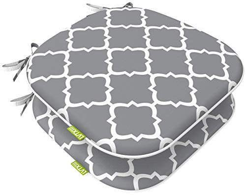 """LVTXIII Indoor Outdoor Seat Cushions, All Weather Patio Accent U-Shape Chair Pads 16"""" x 17"""" for Garden Patio Furniture Home Office Decoration Set of 2 – Geomentry Grey"""