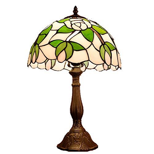VOMI Lámpara de mesa de 12 pulgadas verde con joyas pastorales, estilo minimalista, lámpara de mesita de noche, lámpara de escritorio, salón, bar, E27 Tiffany, creativa lámpara de mesa