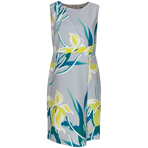 Michaela Louisa Sleeveless Floral Print Shift Dress 10 Grey Multi
