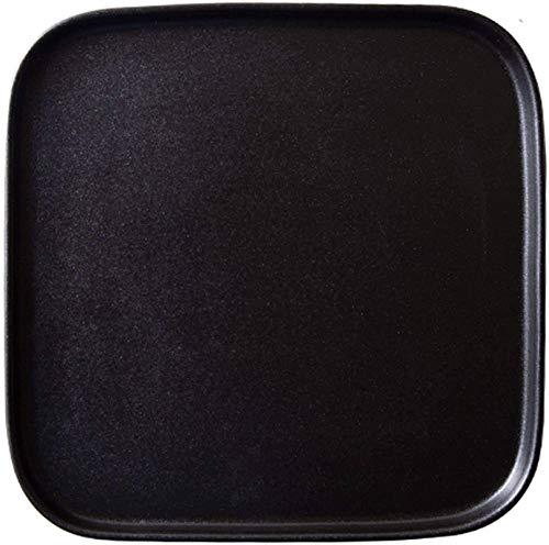 TREEECFCST Platos Vajilla Placa de la cerámica, de 8 Pulgadas Home Plate inastillable vajilla Torta de los Pasteles Ensalada Platos (Color : Black Border)