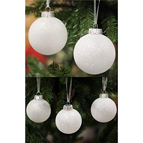 Sleetly Luxury Christmas Ball Ornaments, White Snowball, Assorted Sizes, Set of 32