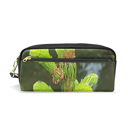 Pencil Case Stylish Print Fir Tree Fresh Green Bud Green Nature Fresh Art Pattern Large Capacity Pen Bag Makeup Pouch Durable Students Stationery Two Pockets with Double Zipper