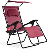 S AFSTAR Zero Gravity Chair with Shade Canopy, Recliner for Patio, Pool Garden Indoor and Outdoor, Folding Lounge Chair with Cup Holder (Burgundy)