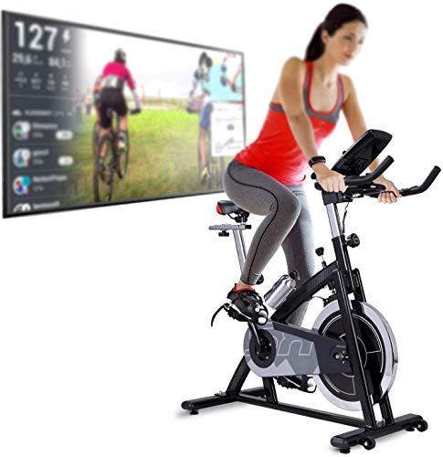 Deportes y juegos de video de fitness en bicicleta de varios jugadores y aplicaciones con libros electrónicos, con 22 kg volante de inercia del dinamómetro,BlackGrey