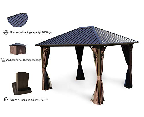 Kozyard Rosana 10'x12' Hardtop Aluminum Permanent Gazebo with 2-Layer Sidewalls (Rosana 10'x12')