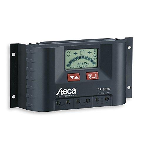 Steca PWM-Solarladeregler (30 A, 12 V / 24 V) mit LCD-Display für Wohnwagen, Boote und Yachten