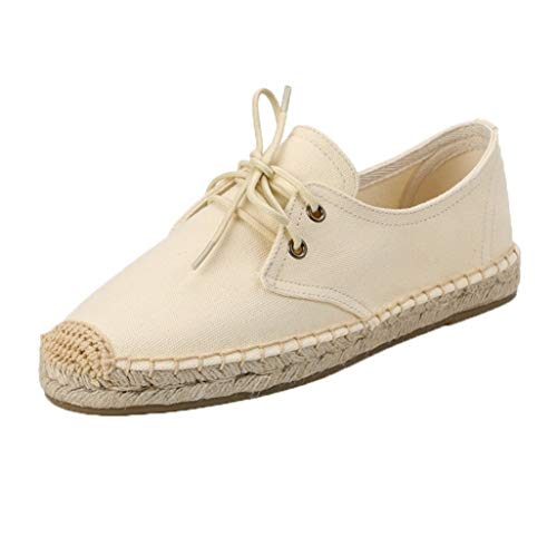 Alpargatas de Las Mujeres de Color Mezclado conciso con Cordones Planos Zapatos Casuales Mujer Verano Exterior cáñamo luz Antideslizante en los Zapatos de Lona