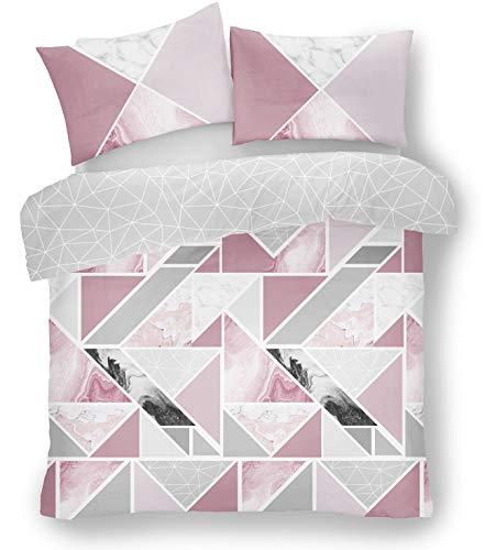 Gaveno Cavailia Mila dubbelsäng påslakan, marmorremsa, delikat rosa