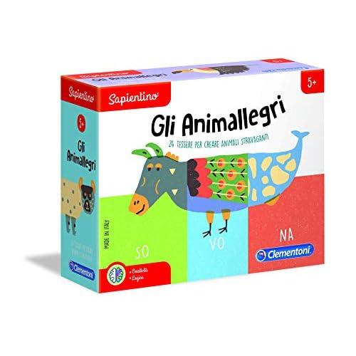 Clementoni - 16160 - Sapientino - Gli Animallegri, puzzle incastro animali - gioco educativo 5 anni tessere illustrate - gioco per imparare animali - Made in Italy