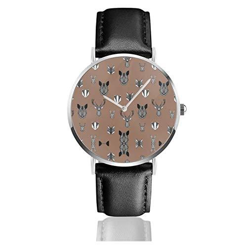 Reloj de cuero Woodland Animales Tejón Zorro Conejo Jabalí Cerdo Buck Doe Brown Unisex Clásico Casual Moda Reloj de cuarzo Reloj de acero inoxidable con correa de cuero