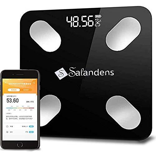 Salandens Báscula para medir grasa corporal. Báscula de personal. Báscula Inteligente Wireless, Mide el peso corporal con alta precisión. Mide tu porcentaje de grasa corporal, masa muscular, IMC, grasa visceral. Compatible con Android y iOS