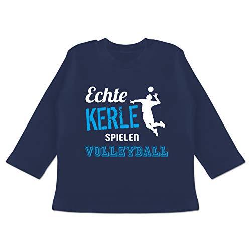 Sport Baby - Echte Kerle Spielen Volleyball - 6/12 Monate - Navy Blau - BZ11 - Baby T-Shirt Langarm
