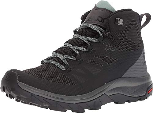 Salomon Women's OUTline Mid GTX W Hiking Boots, Black/Magnet/Green Milieu, 8