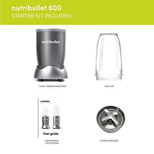 NUTRiBULLET 600 Series Starter Kit - Nutrient Extractor High Speed Blender - 600 W - Graphite