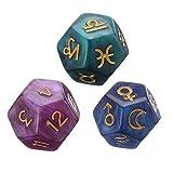 3 dados de tarot poliedro de 12 caras para tarjetas de tarot Oracle Cards Astrología Tarot dados para fiestas y familias