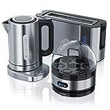 Arendo 722303562722 Hervidor de agua de acero inoxidable + estación base con ajuste de temperatura 1000 W tostadora cuecehuevos para 1-7 huevos